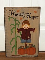 Harvest Keeper Primitive Scarecrow and Cornshalk Sign