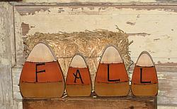 Candy Corn Wood Shelf Sitters with Fall - Set/4