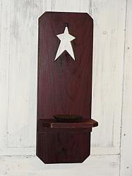 Primitive Wood Shutter Candle Holder