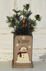 Snowman Primitive Wood Box Pine and Berry Arrangement with Grungy Taper Light