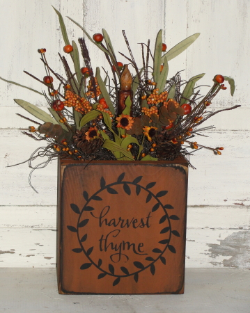 Harvest Thyme Primitive Box Arrangement with Grungy Light
