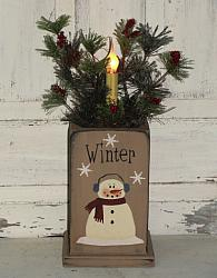 Snowman Primitive Wood Box Pine and Berry Arrangement with Electric Light