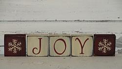 Joy with Snowflakes Primitive Block Set