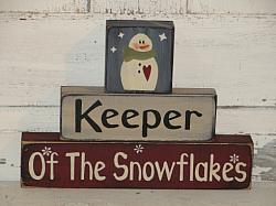 Keeper of the Snowflakes Snowman Primitive Stacking Blocks