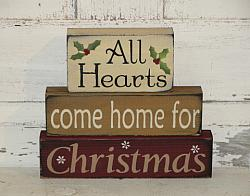 All Hearts Come Home for Christmas Primitive Stacking Blocks