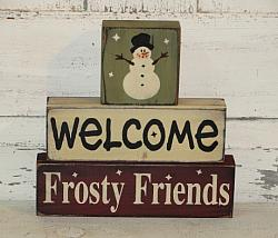 Welcome Frosty Friends Primitive Stacking Blocks