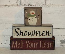 Snowmen Melt Your Heart Primitive Stacking Blocks