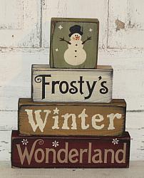 Frosty's Winter Wonderland Snowman Primitive Stacking Blocks