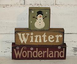 Winter Wonderland Snowman Primitive Stacking Blocks