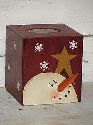 Snowman and Star Tissue Box/Burgundy or Barn Red