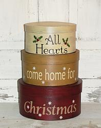 All Hearts Come Home For Christmas Primitive Round Stacking Boxes - Set/3