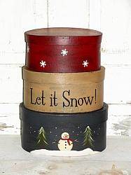 Snowman Trees and Snowflakes Handpainted Stacking Boxes-Let it Snow