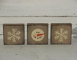 Frosty Face Snowman and Snowflakes Block Set