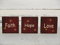 Faith Hope Love Shelf Sitter Block Set