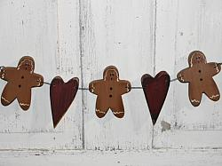 Primitive Gingerbread and Heart Swag