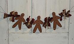 Primitive Gingerbread Swag with Assorted Homespun and Raffia Ties