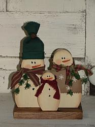 Primitive Snowman Trio Shelf Sitter