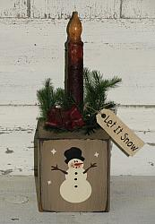 Primitive Snowman Block Grungy Light with Pine Homespun and Rusty Bell