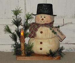 Primitive Snowman with Hat Metal Arms/Base with Pine and Grungy Battery Light
