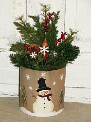 Snowman Snowflakes and Tree Pine Arrangement with Grungy Light