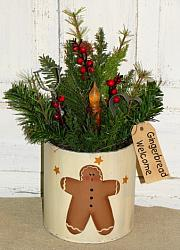 Gingerbread Pine Berry Arrangement with Grungy Light