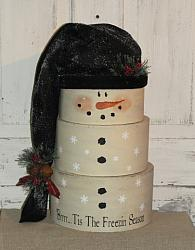 Snowman Stacking Boxes with Black Hat-Pine Berries & Rusty Bells