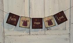 Hope Faith Love Angel Hanging Garland