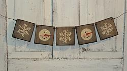 Frosty Face and Snowflake Hanging Garland