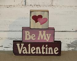 Be My Valentine Primitive Wood Stacking Blocks