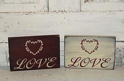 Love with Heart Wood Sign/Shelf sitter