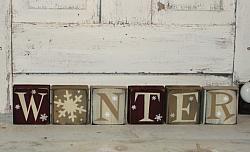 Winter Primitive Wood Block Set/Color options