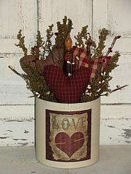 Primitive Round Three Heart Arrangement with Love Graphic and Grungy Taper Light