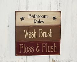 Bathroom Rules Primitive Wood Sign