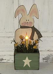 Primitive Spring Bunny Box With Daisies and Light