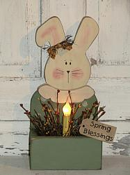 Primitive Spring Bunny Light Arrangement with Collar