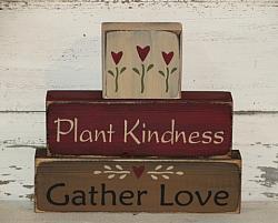 Plant Kindness Gather Love Primitive Wood Stacking Blocks