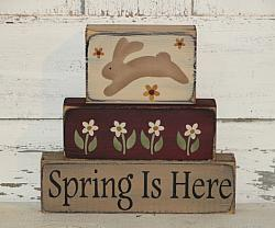 Spring is Here Primitive Wood Stacking Blocks