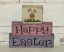 Happy Easter with Bunny and Eggs Primitive Wood Stacking Blocks