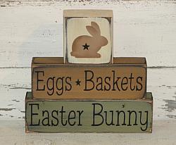 Eggs Baskets Easter Bunny Primitive Wood Stacking Blocks