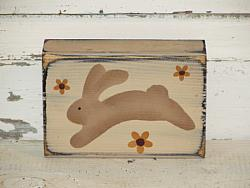 Jumping Bunny with Flowers Wood Stacking Block