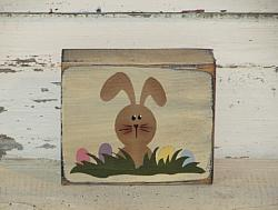 Bunny and Eggs Primitive Wood  Block