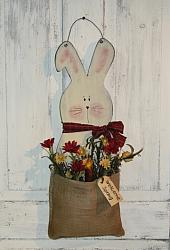 Primitive Spring Bunny with Burlap and Floral