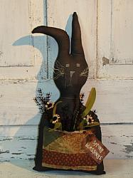 Black Prim Bunny with Pouch and Florals