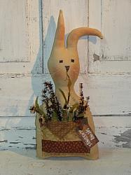Tea-stained Prim Bunny with Pouch and Florals