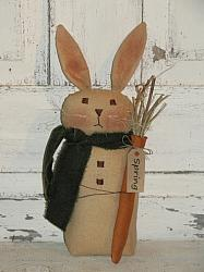 Primitive Tea-stained Bunny with Carrot