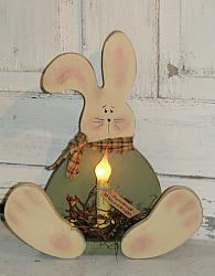 Spring Sitting Bunny with Electric Light and Berries