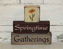 Springtime Gatherings with Flowers Primitive Wood Block Set