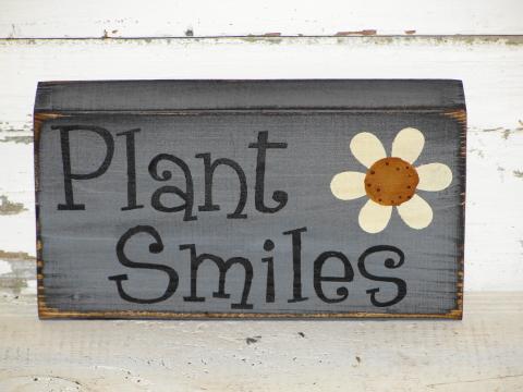 Plant Smiles Primitive Wood Block