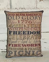 Primitive Typography Americana Accent Pillow