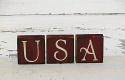 Primitive USA Wood Block Set